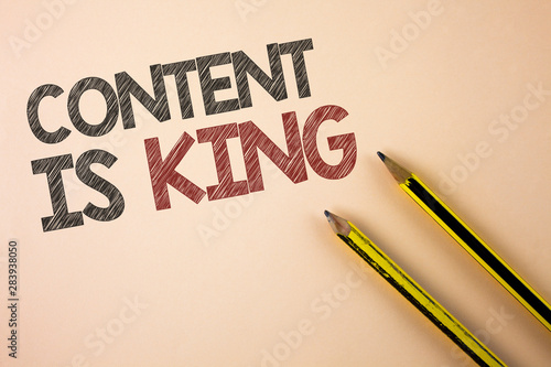 Writing note showing Content Is King Wallpaper Mural