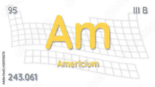 Photo Americium chemical element  physics and chemistry illustration backdrop