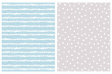 Simple Hand Drawn Irregular Geometric Patterns. White Horizontal Stripes And Brush Style Spots Isolated On A Light Blue And Light Gray Background. Children's Scrawl Like Repeatable Design.