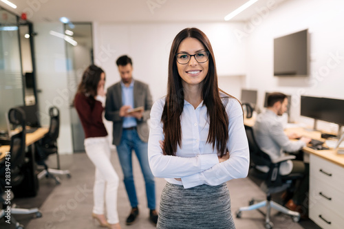 Portrait of successful beautiful businesswoman in office Canvas Print