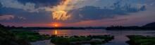Panoramic Beautiful Mekong River At Sunset