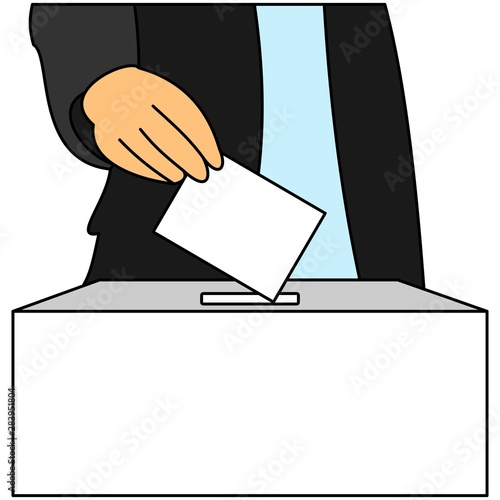 A man inserts a ballot paper into the ballot box that stands on the table Canvas-taulu