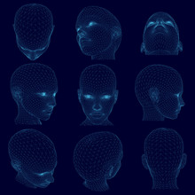 Set With Wireframes Of Polygonal Human Heads. The Blue Contours Of The Female Head In Different Positions. 3D. Vector Illustration