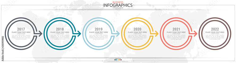 Fototapeta nfographic business horizontal timeline steps process chart template. Vector modern banner used for presentation and workflow layout diagram, web design. Abstract elements of graph options.