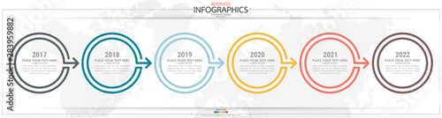Tela  nfographic business horizontal timeline steps process chart template