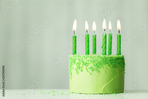 Green birthday cake Canvas Print