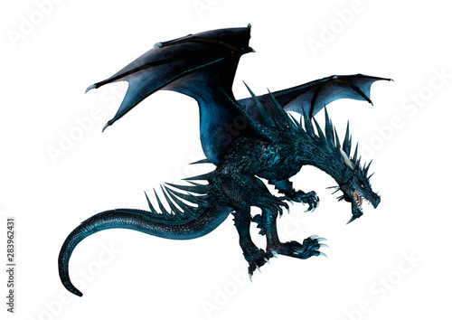 3D Rendering Fairy Tale Dragon on White Tablou Canvas