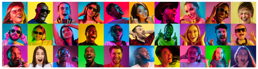 Fototapeta Beautiful male and female portrait on multicolored neon light backgroud. Smiling, surprised, screaming. Human emotions, facial expression. Creative collage made of different photos of 16 models.