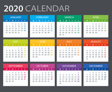 2020 Calendar - Vector Illustr...