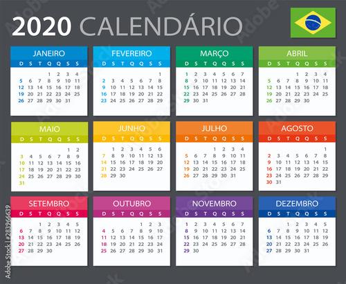 2020 Calendar Brazilian - vector illustration Fototapete