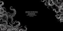 Octopus Abstract Frame Design, Creative Ocean Doodle, Cute Decoration Design, Deep Wildlife Cartoon Retro Tentacles For Web And Print