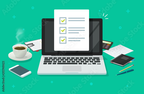 Checklist document in laptop and working desk vector. Cartoon computer with checkmarks document or to do list with checkboxes, concept of survey. Online quiz or done test, feedback or workplace table - fototapety na wymiar