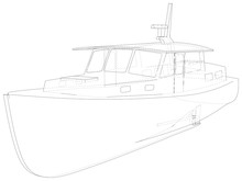 Boat Isolated On White. Technical Wire-frame. Vector Rendering Of 3d.