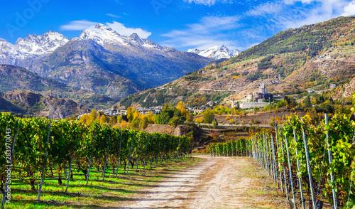 Photo sur Aluminium Vignoble Impressive Alps mountains, scenic valley of castles and vineyards - Aosta, northen Italy