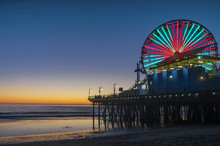 Image Of The Ferris Wheel At The Santa Monica Pier At Twilight.