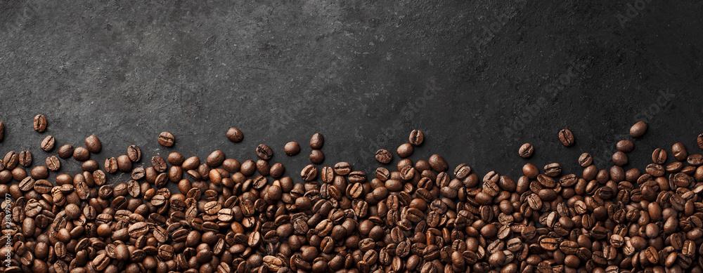 Fototapeta Banner - Fresh Coffee Beans With Dark Background