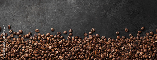Fotografering Banner - Fresh Coffee Beans With Dark Background