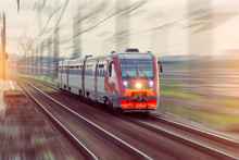 Passenger Diesel Train Travels By Rail Motion Blur Effect.