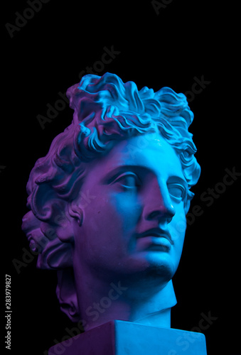 Gypsum copy of ancient statue Apollo head isolated on black background Wallpaper Mural
