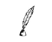 Quill Pen In Inkpot Illustration