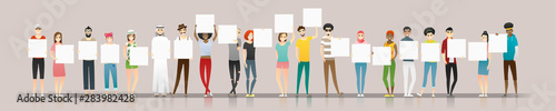 Fototapeta Group of young people holding empty boards , vector , illustration obraz