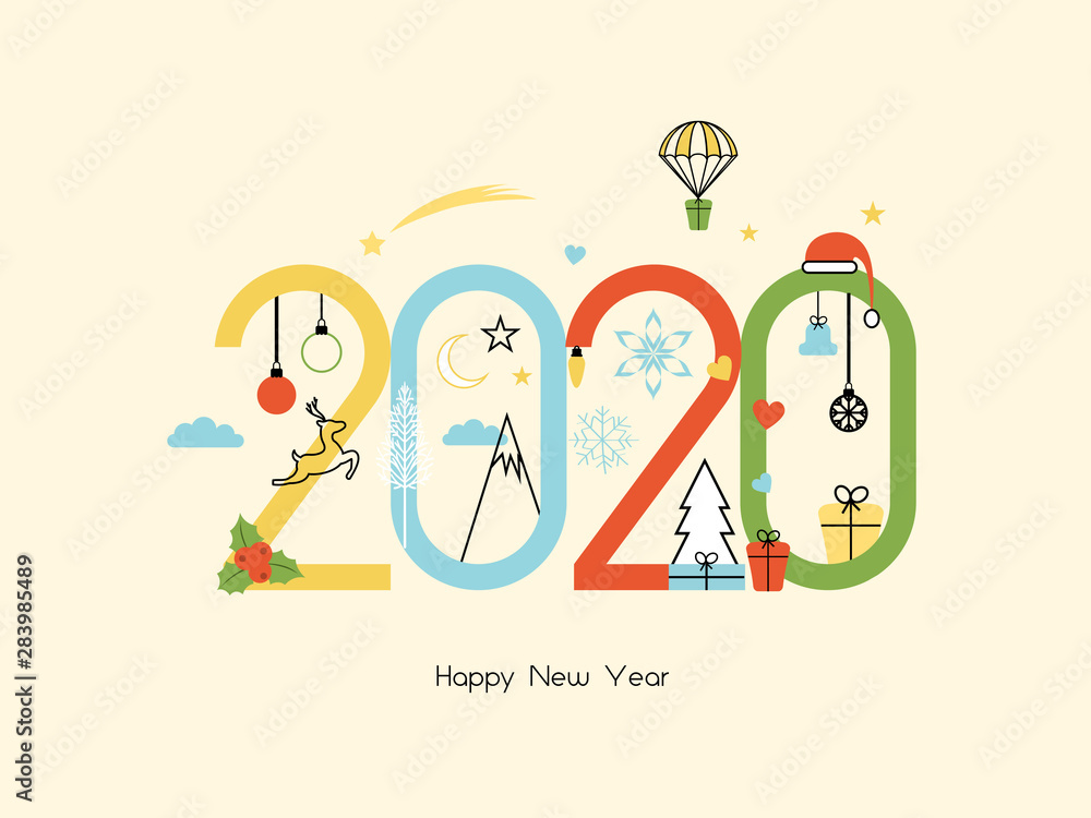 Fototapeta Happy New Year 2020. Vector illustration concept for background, greeting card. Website, mobile website and social media banner. Party invitation card and other marketing material.