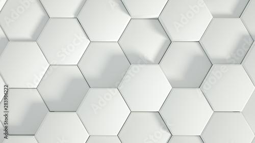 Fototapety, obrazy: Geometry hexagon background. 3d illustration, 3d rendering.