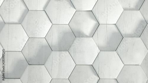 Poster Metal Geometry hexagon background. 3d illustration, 3d rendering.