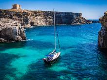 Boat Sails Off Island Comino Malta