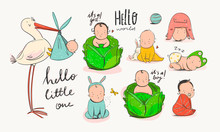 Cartoon Stork Carrying A Baby. Cute Little Newborn Babies In Various Poses. Babies In A Cabbage. Various Nationalities. Different Races. Hand Drawn Vector Set. Colorful Trendy Illustration