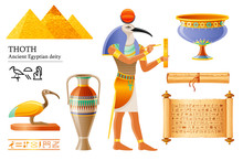 Ancient Egyptian Thoth, God Of Wisdom, Hieroglyph Writing. Ibis Bird Deity, Papyrus Scroll, Vase, Pot. 3d Cartoon Vector Illustration. Old Mural Paint Art Icon From Egypt. Isolated On White Background