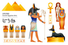 Ancient Egyptian God Anubis Icon Set. Canine Head Deity Of Death, Mummification, Afterlife. Mummy, Canopic Jar, Dog Tomb. 3d Cartoon Vector Illustration. Old Art From Egypt. Isolated White Background