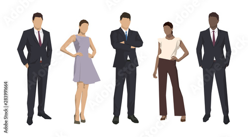 Canvas Print Group of business people, isolated business men and women