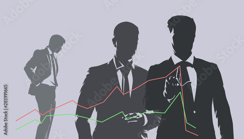 Businessmen analyzing falling graph. Business financial crisis, dark vector illustration. Company management evaluates situation