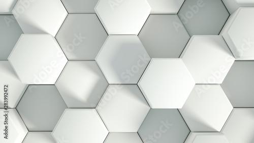 Obraz Geometry hexagon background. 3d illustration, 3d rendering. - fototapety do salonu