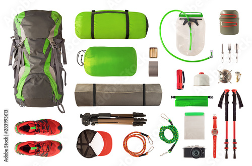 Top view of sport equipment and gear for trekking and camping Wallpaper Mural