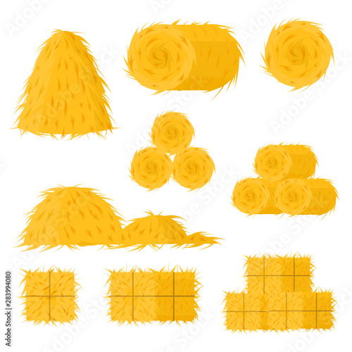 Fototapeta Cartoon Color Bale of Hay Icon Set. Vector