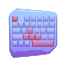 One Hand Gaming Keyboard, Gaming Keypad, Mini Gaming Keyboard On Isolated Background, Bright Flat Icon In Lilac And Red Colors. White Back Vector.