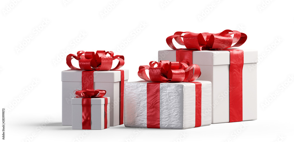 Fototapeta red and white Christmas presents isolated 3d-illustration
