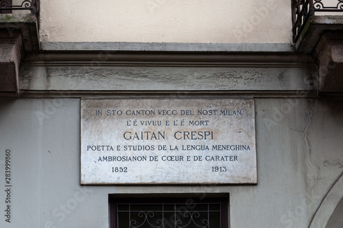 The only commemorative plaque in the Milanese dialect dedicated to the poet Gaet Canvas Print