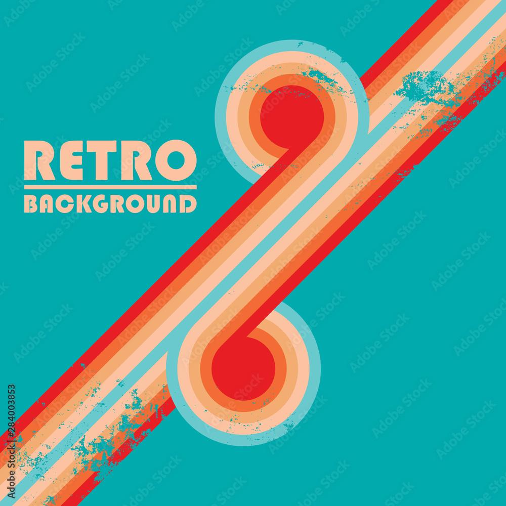 Fototapeta Vintage design background with twisted colored stripes and retro grunge texture - obraz na płótnie