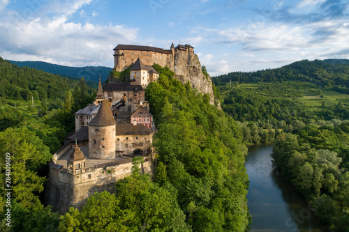 Valokuva  Orava castle in Slovakia. Aerial view at sunrise