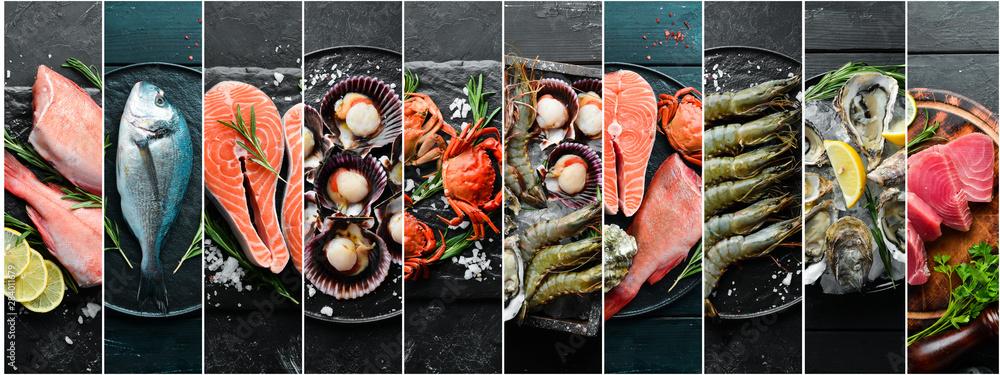 Fototapeta Photo collage. Seafood and raw fish on black stone background.