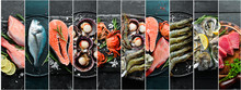 Photo Collage. Seafood And Raw...