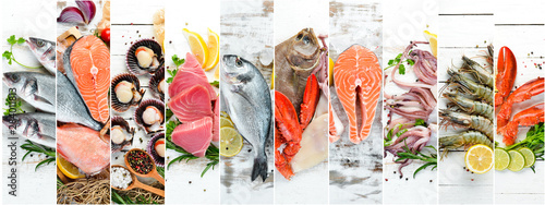 Valokuva  Banner collage. Fish and seafood on white wooden background.