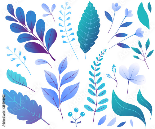 Floral decorative leaves plants blue hand drawn blossoms Wall mural