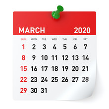 March 2020 - Calendar. Isolated On White Background. 3D Illustration