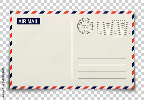 Fotomural Blank post card with stamp for greetings and messages