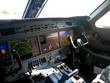 Bussenes jet airplane cockpit Flight Deck.Instrument panel.