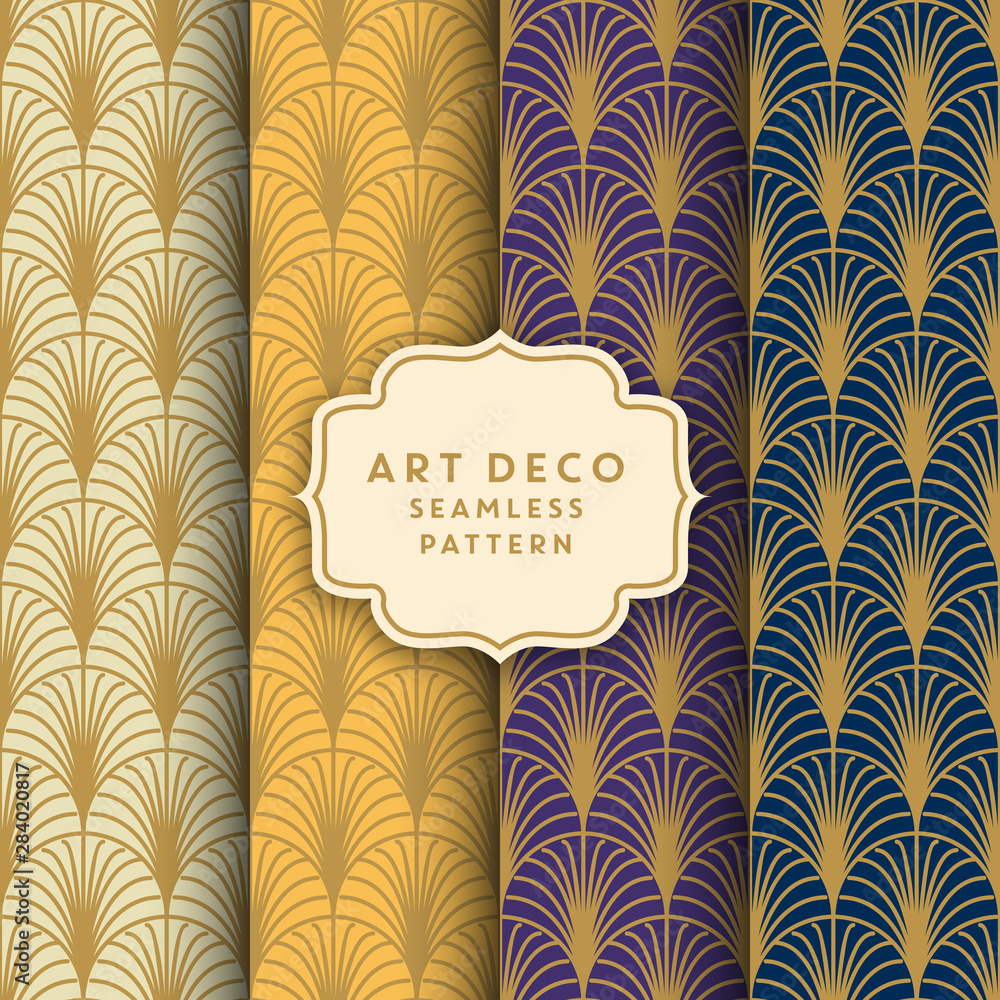 Art deco seamless pattern design - golden line pattern presented on various background colors